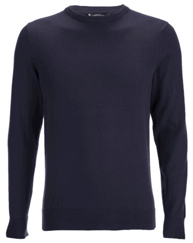 Kensington Eastside Men's Henriks Cotton Crew Neck Jumper - Dark Navy