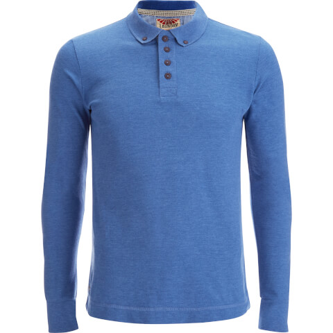 Tokyo Laundry Men's Lake Nevada Long Sleeve Polo Shirt - Cornflower Blue Marl
