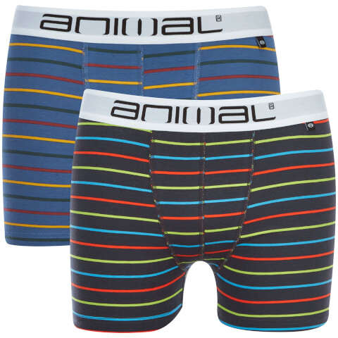 Animal Men's Allview 2 Pack Stripe Boxers - Multi