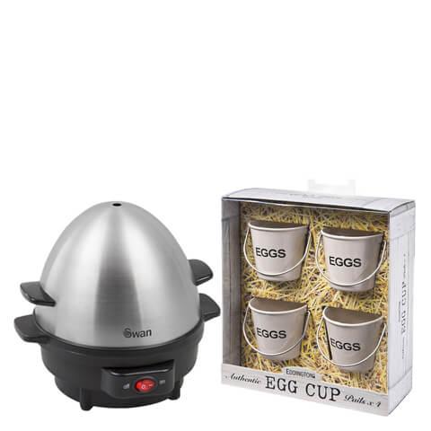Swan SF21020N Egg Boiler and Poacher & Eddingtons Egg Cup Buckets Bundle