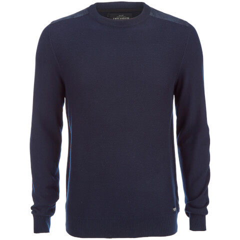 Threadbare Men's Quaker Waffle Shoulder Panel Jumper - Navy