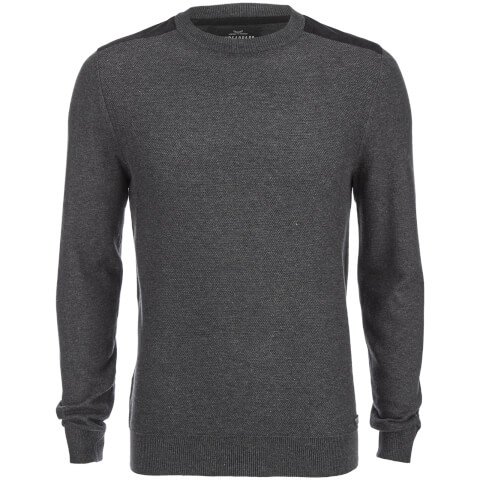 Threadbare Men's Quaker Waffle Shoulder Panel Jumper - Charcoal Marl