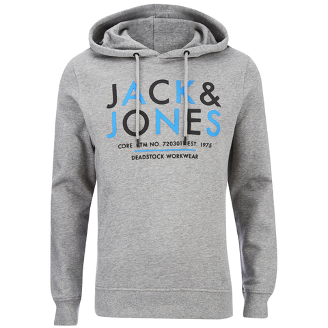 Jack & Jones Men's Core Noah Print Hoody - Light Grey Melange