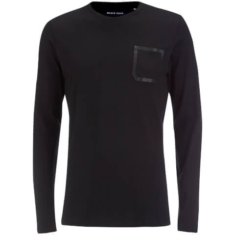 Brave Soul Men's Activist Tape Pocket Long Sleeve T-Shirt - Black