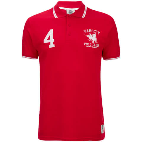 Varsity Team Players Men's College Polo Shirt - Red/White