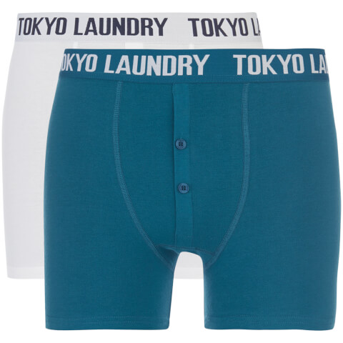 Tokyo Laundry Men's Coomer 2 Pack Boxers - White/Kingfisher Blue
