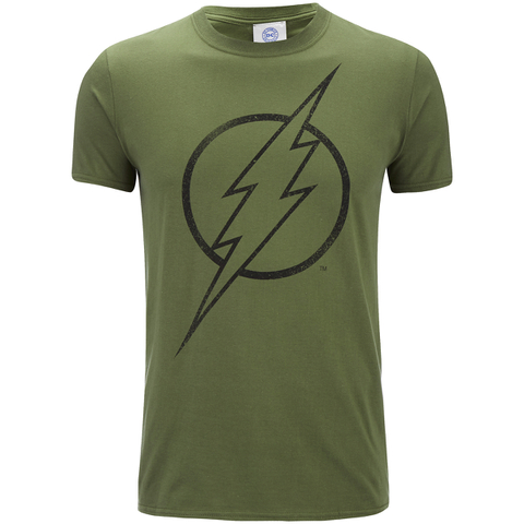 DC Comics Herren The Flash Line Logo T-Shirt - Militär Grün