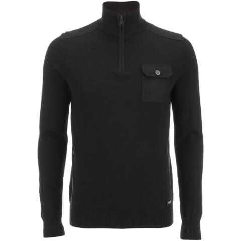Threadbare Men's Julian 1/2 Zip Funnel Neck Jumper - Jet Black