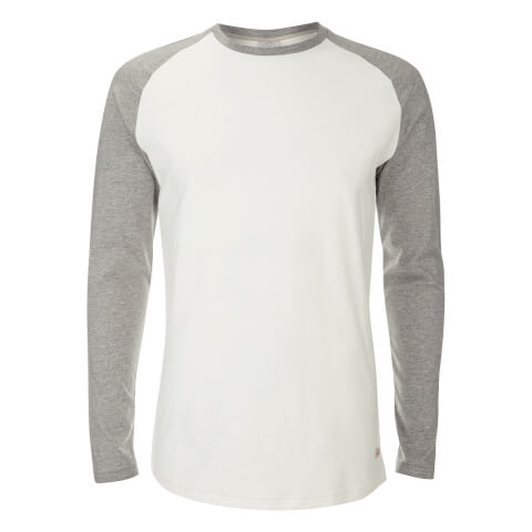 T-Shirt Originals Stan Raglan Manches Longues Jack & Jones -Gris/Blanc