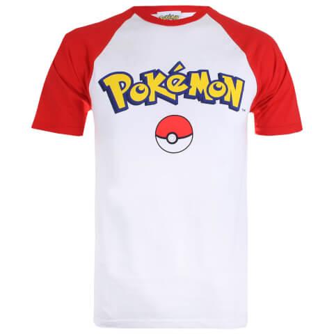 Pokemon Logo Contrast Heren T-Shirt - Wit/Rood