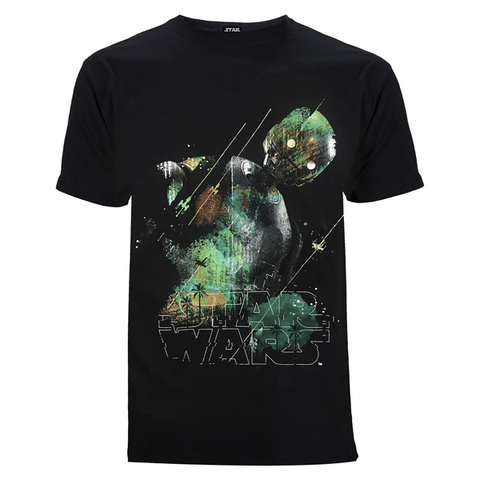 Star Wars: Rogue One Men's Rainbow Effect K-2SO T-Shirt - Black
