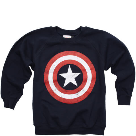 Marvel Jongens Captain America Distress Shield Trui - Navy