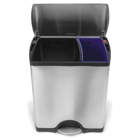 Poubelle de recyclage rectangulaire Simplehuman 46l -Clair