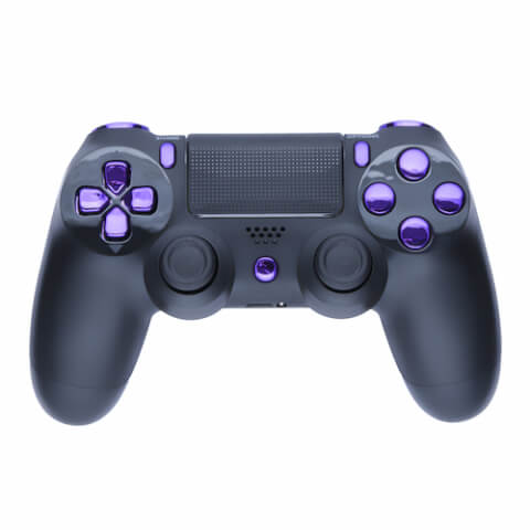 Playstation 4 Custom Controller - Matte Black & Chrome Purple