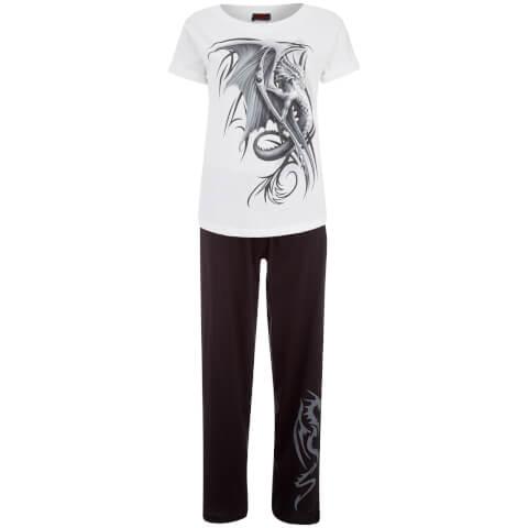 Spiral Women's Wyvern 4 Piece Gothic Pyjama Set - Black/White