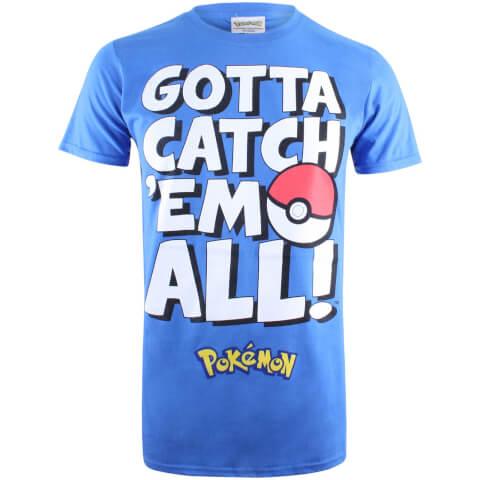 T-Shirt Homme Pokémon Gotta Catch Em Text - Bleu Roi