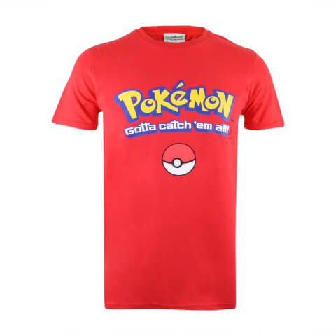 Pokemon Men's Gotta Catch Em All Logo T-Shirt - Red