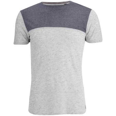 Brave Soul Men's Winfrey Panel T-Shirt - Ecru Marl