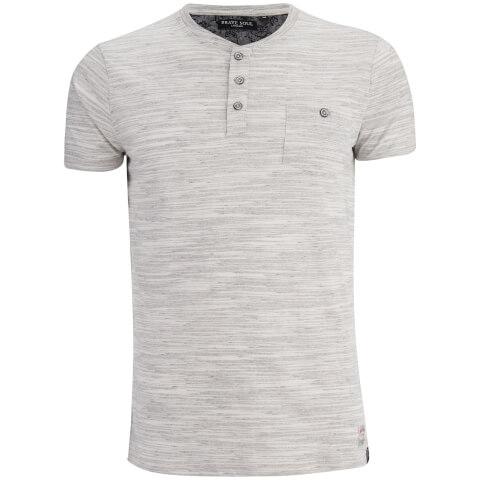Brave Soul Men's Petrak Button Collar T-Shirt - Ecru marl/Light Grey