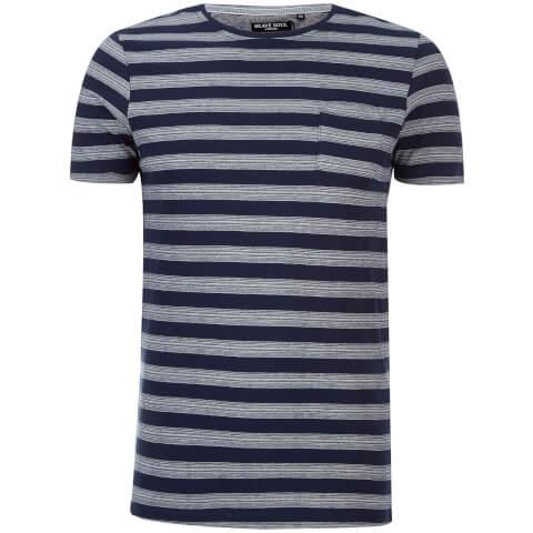 Brave Soul Men's Gravel Stripe T-Shirt - Navy/Ecru