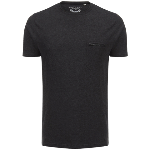 Brave Soul Men's Faustian Zip Pocket T-Shirt - Dark Charcoal