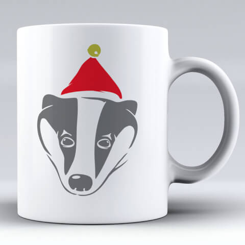 Badger with Santa Hat Ceramic Mug
