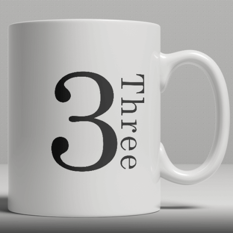 Alphabet Ceramic Mug - Number 3