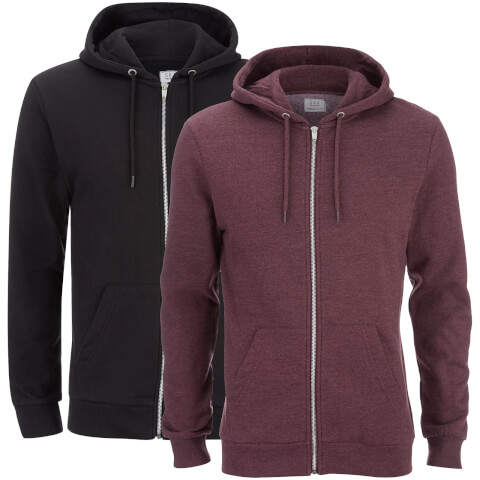 Smith & Jones Men's Gridiron 2 Pack Zip Through Hoody - Black/Burgundy