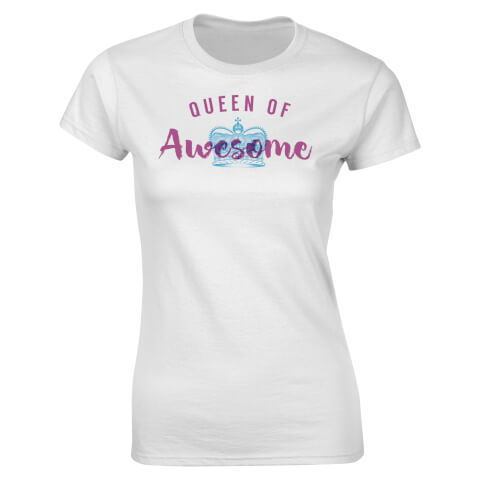 T-Shirt Femme Queen Of Awesome Valentines -Blanc