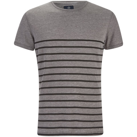 Threadbare Men's Matthews Crew Neck Stripe T-Shirt - Grey