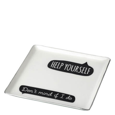 Parlane 'Help Yourself' Aluminium Square Plate - White/Black (17.5 x 17.5cm)