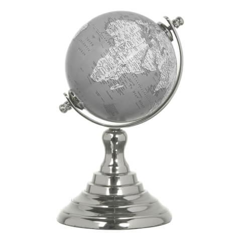 Globe Terrestre en Aluminium Parlane - Gris/Blanc (16 x 10cm)