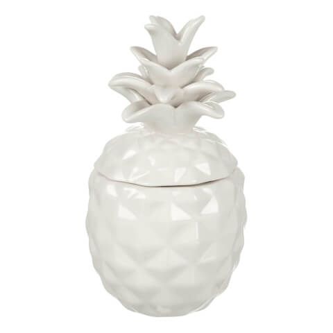 Parlane Pineapple Ceramic Storage Jar - White (16 x 8.5cm)