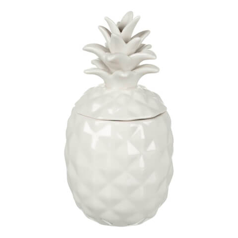 Parlane Pineapple Ceramic Storage Jar - White (20 x 10cm)