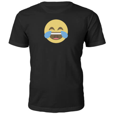 Emoji Unisex Cry With Laughter Face T-Shirt - Black