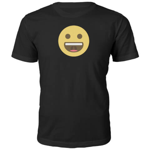T-Shirt Unisexe Emoji Grand Sourire -Noir