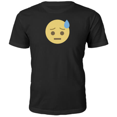 Emoji Unisex Worry Face T-Shirt - Black