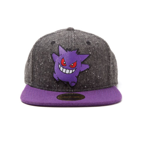Pokémon Gengar Snapback Cap with Purple Bill - Grey