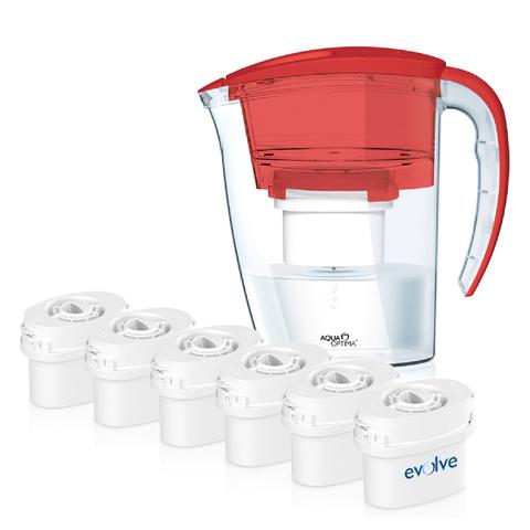 Aqua Optima 2.25L Red Galia Water Filter Jug with 6 x 60 Day Evolve Filter Cartridges (12 Month Bundle)