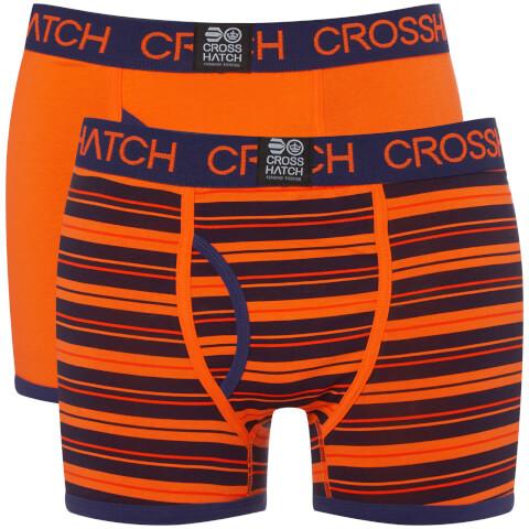 Crosshatch Men's 2 Pack Deckster Boxer Shorts - Red Orange