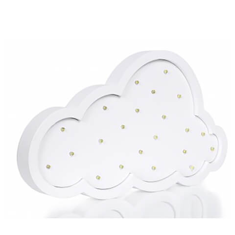 Wood Cloud Light with LED - White