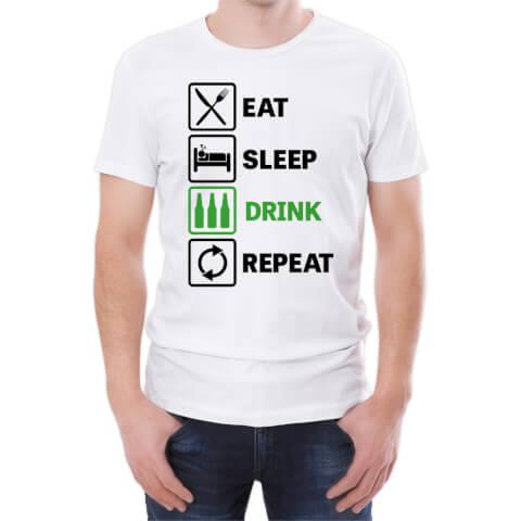 T-Shirt Homme Eat Sleep Drink Repeat -Blanc