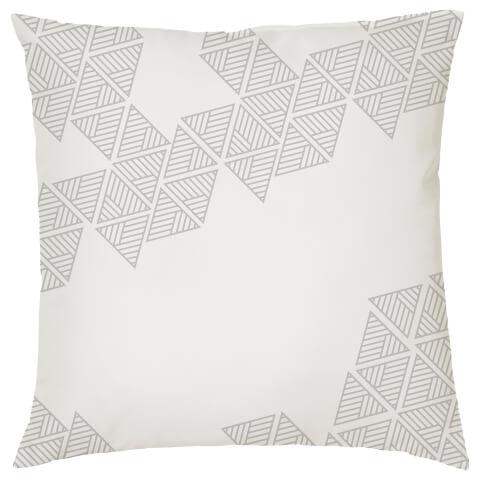 Geometric Triangle Print Cushion - White