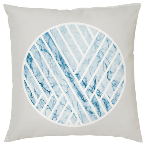 Geometric Marble Circle Cushion - Blue