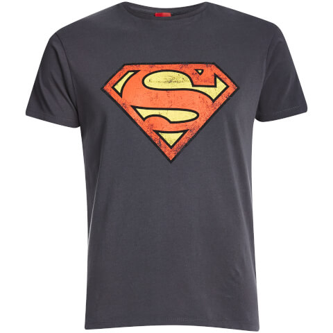 DC Comics Men's Superman Distressed Logo T-Shirt - Charcoal