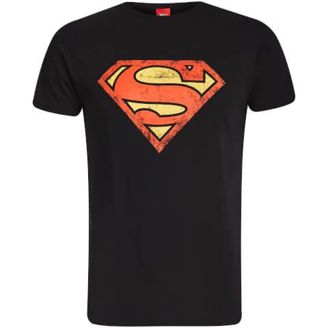 DC Comics Men's Superman Distressed Logo T-Shirt - Black