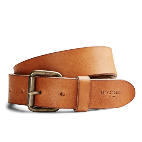 Jack & Jones Men's Jakob Leather Belt - Mocha Bisque