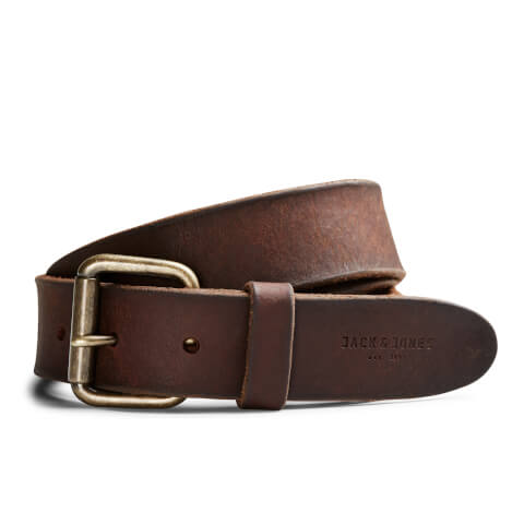 Jack & Jones Men's Jakob Leather Belt - Black Coffee