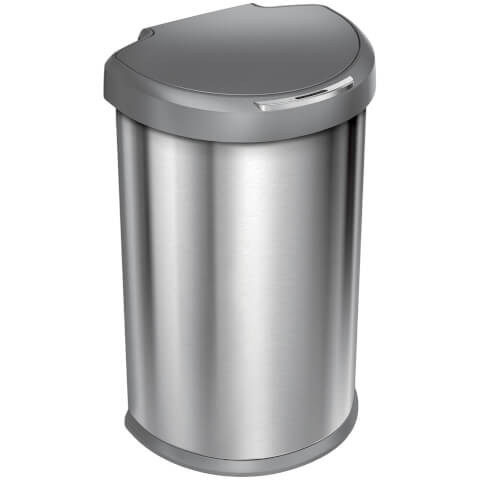 simplehuman Semi-Round Sensor Bin with Plastic Lid - Brushed Steel 45L