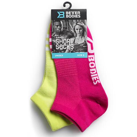 Better Bodies Short 2 Pack Socks - Pink/Lime